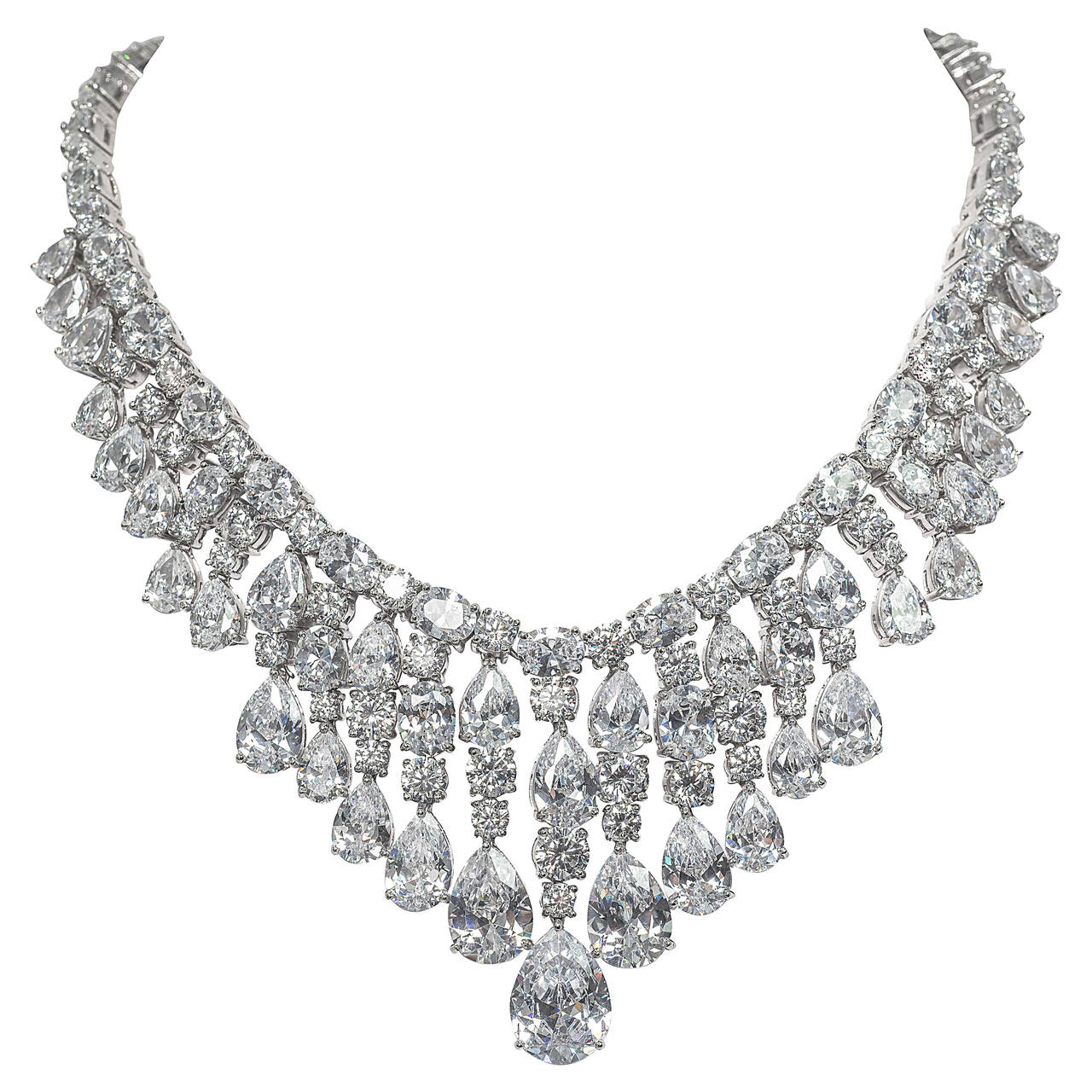 Is Monet Jewelry Real >> Red Carpet Faux Diamond Draperie Necklace at 1stdibs