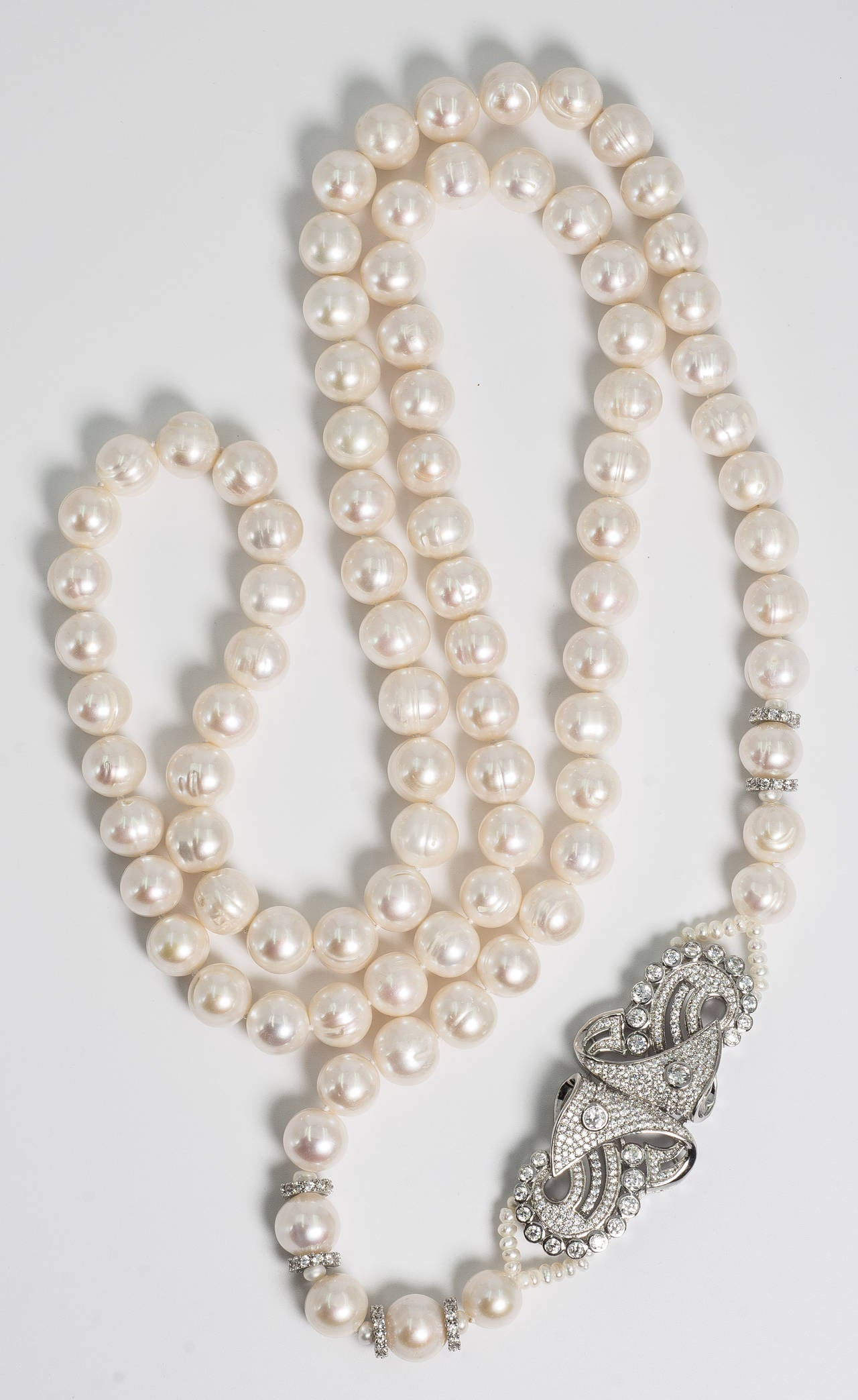 Retro Style Faux Diamond Clasped Real Pearl 36 Inch Long