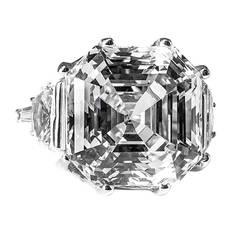 Amazing Large Faux Asscher Cut 25 Carat Diamond Gold Ring