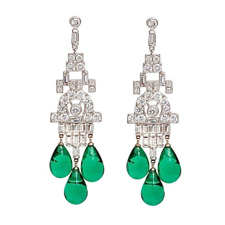 Faux Diamond Emerald Art Deco Style Chandelier Earrings at 1stdibs