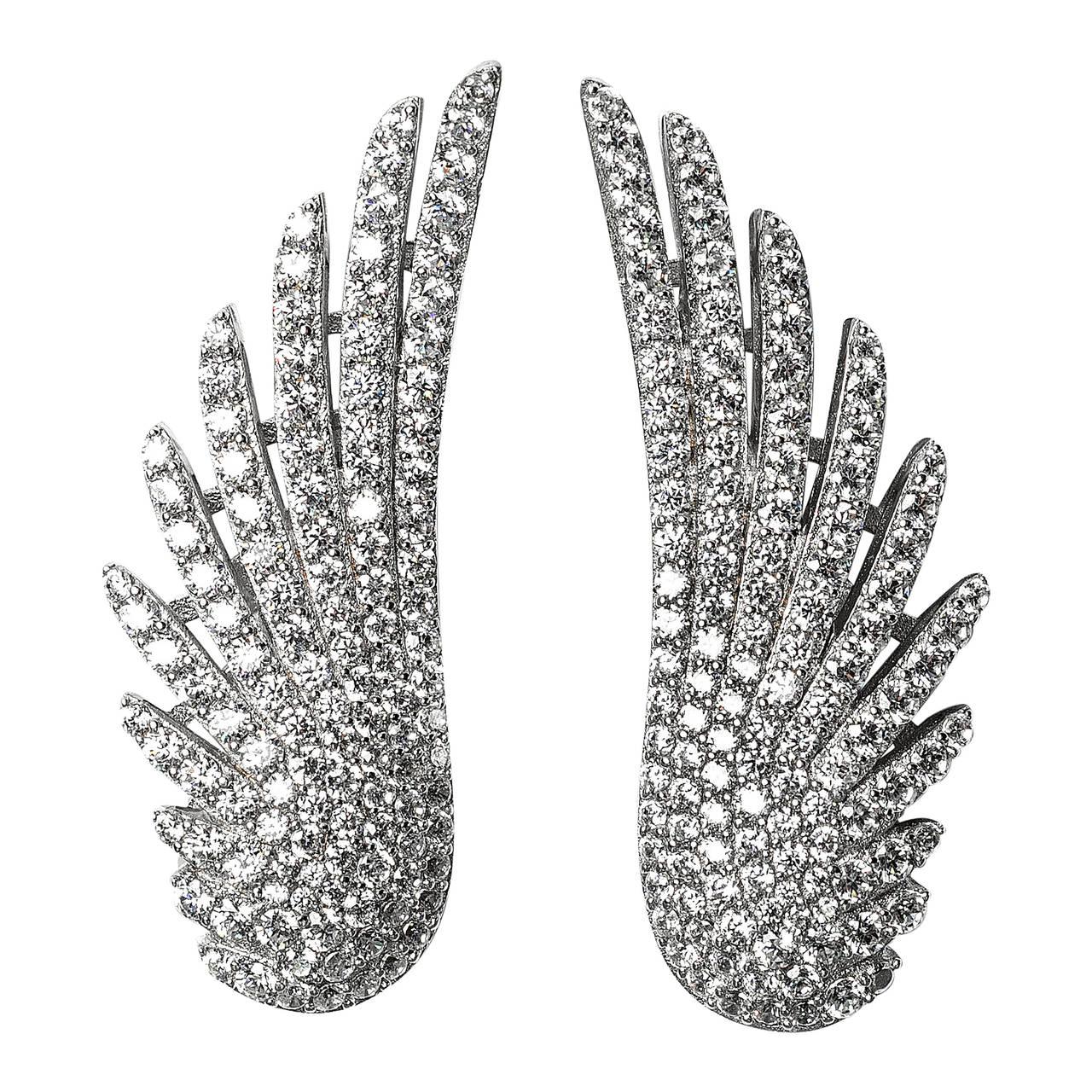 Faux Diamond Angel Wing Earclips 1