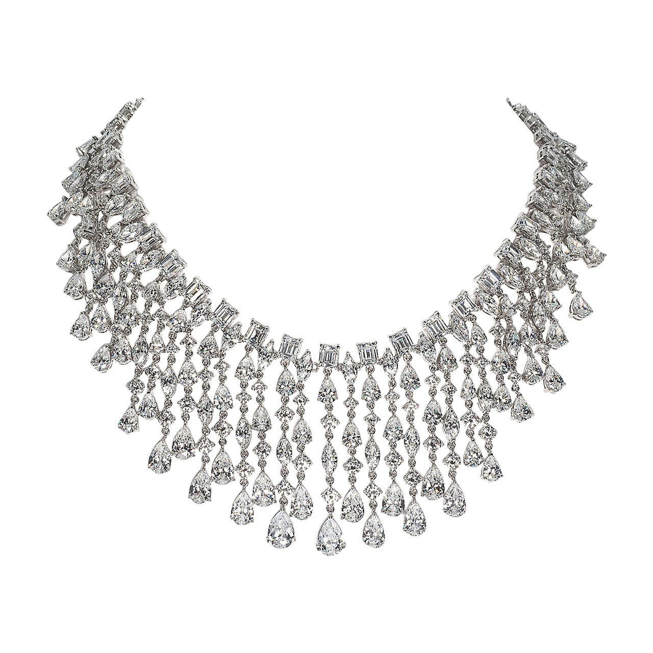 Red Carpet Faux Diamond Drama Fringe Draperie Necklace 1