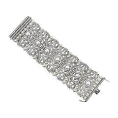 Fabulous Wide Art Deco Style Faux Diamond Pearl Sterling Bracelet
