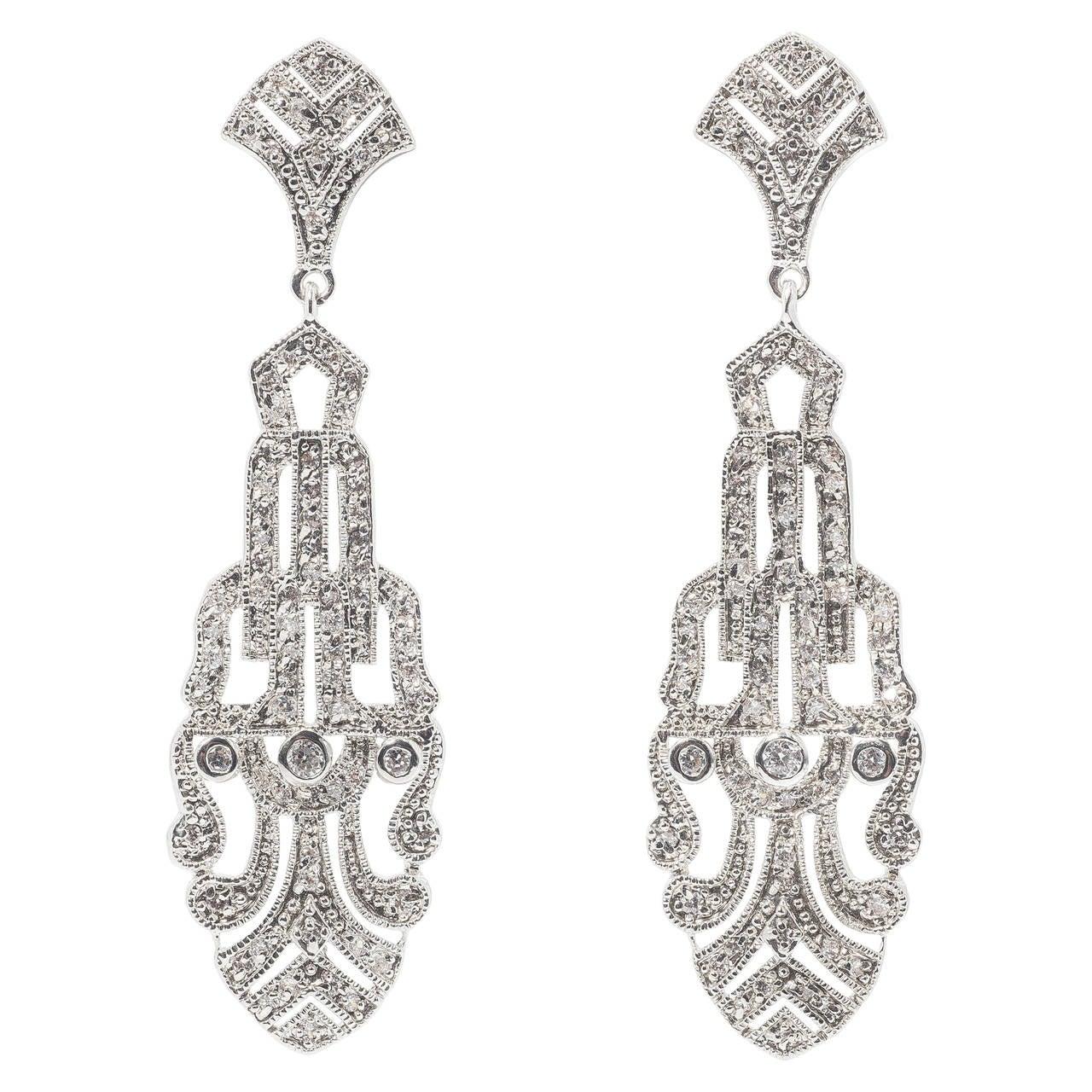 art deco style faux palmette diamond chandelier earrings. Black Bedroom Furniture Sets. Home Design Ideas