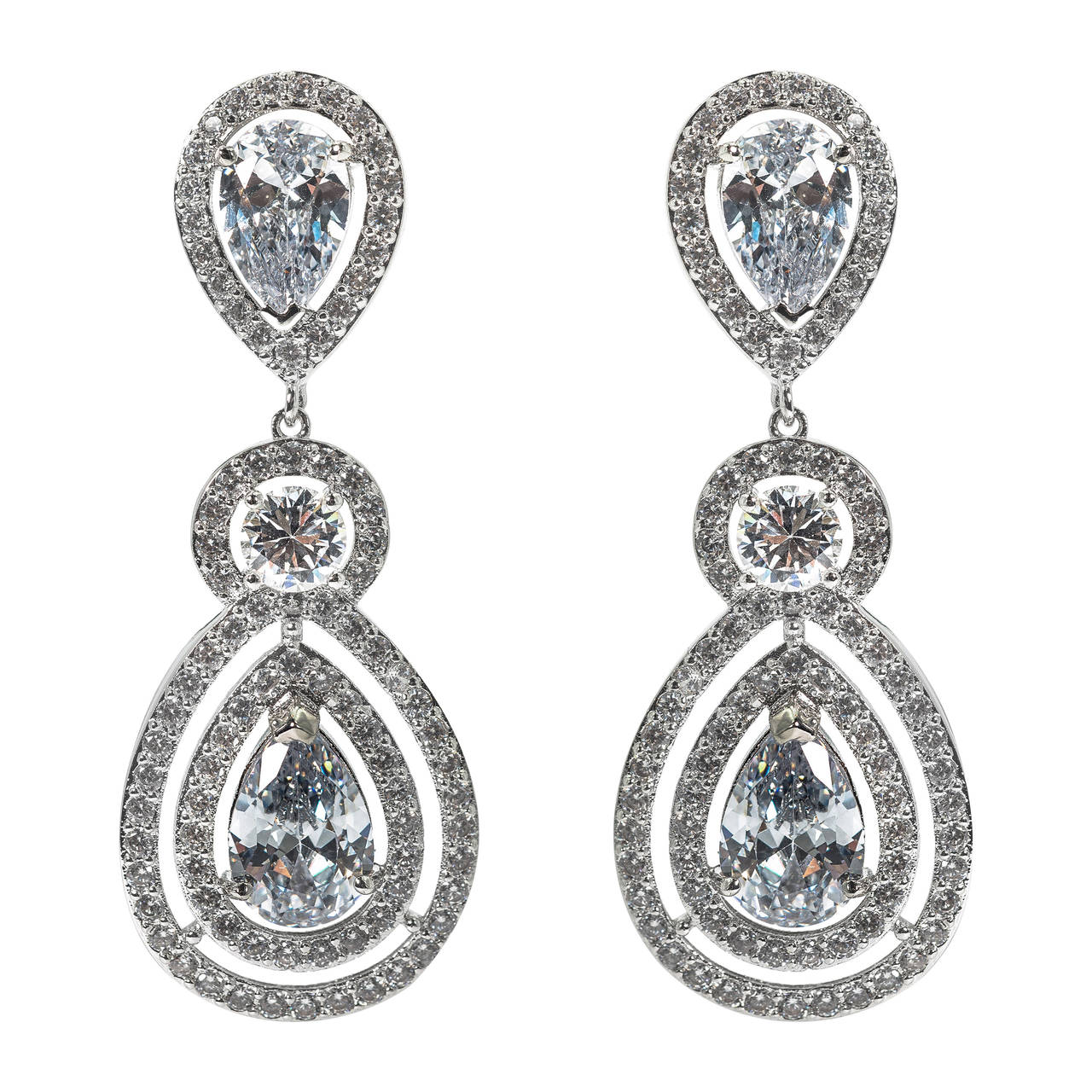 shimmering faux diamond pear drop earrings for sale at 1stdibs. Black Bedroom Furniture Sets. Home Design Ideas