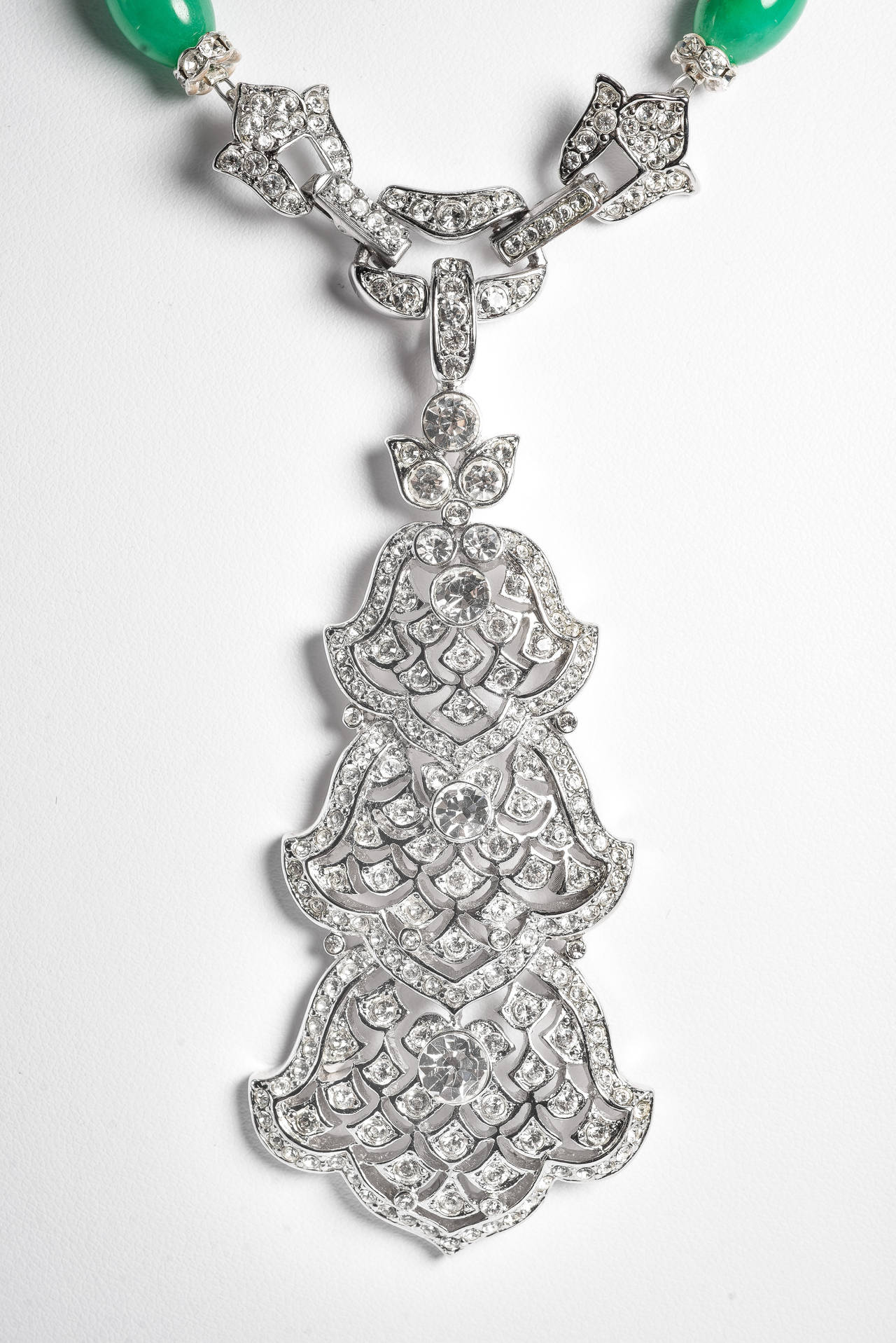 Amazing Art Deco Style Faux Diamond Jade Coral Long Necklace 2
