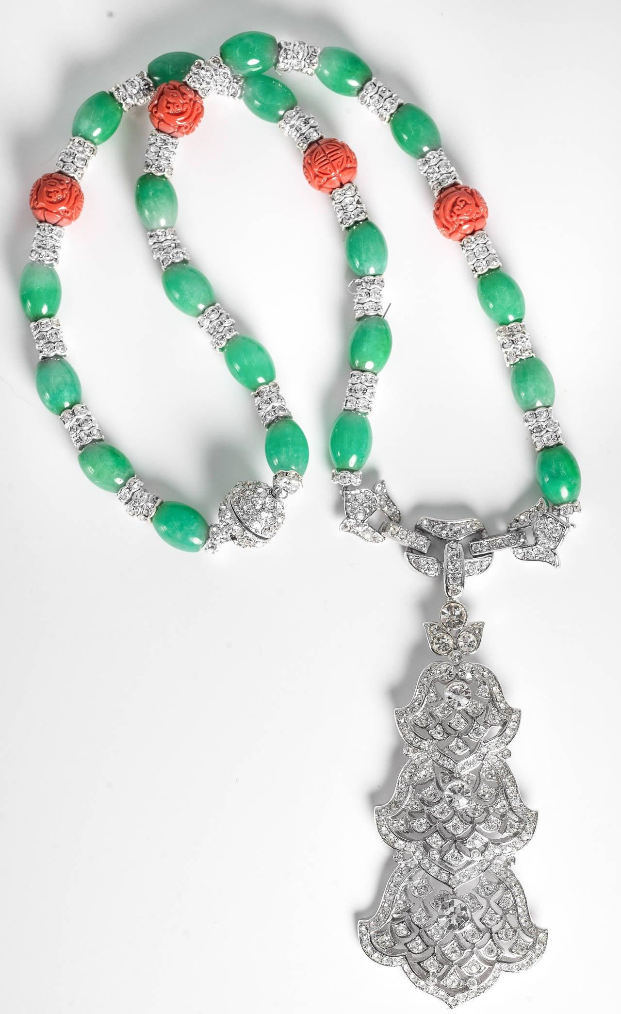 Amazing Art Deco Style Faux Diamond Jade Coral Long Necklace 3