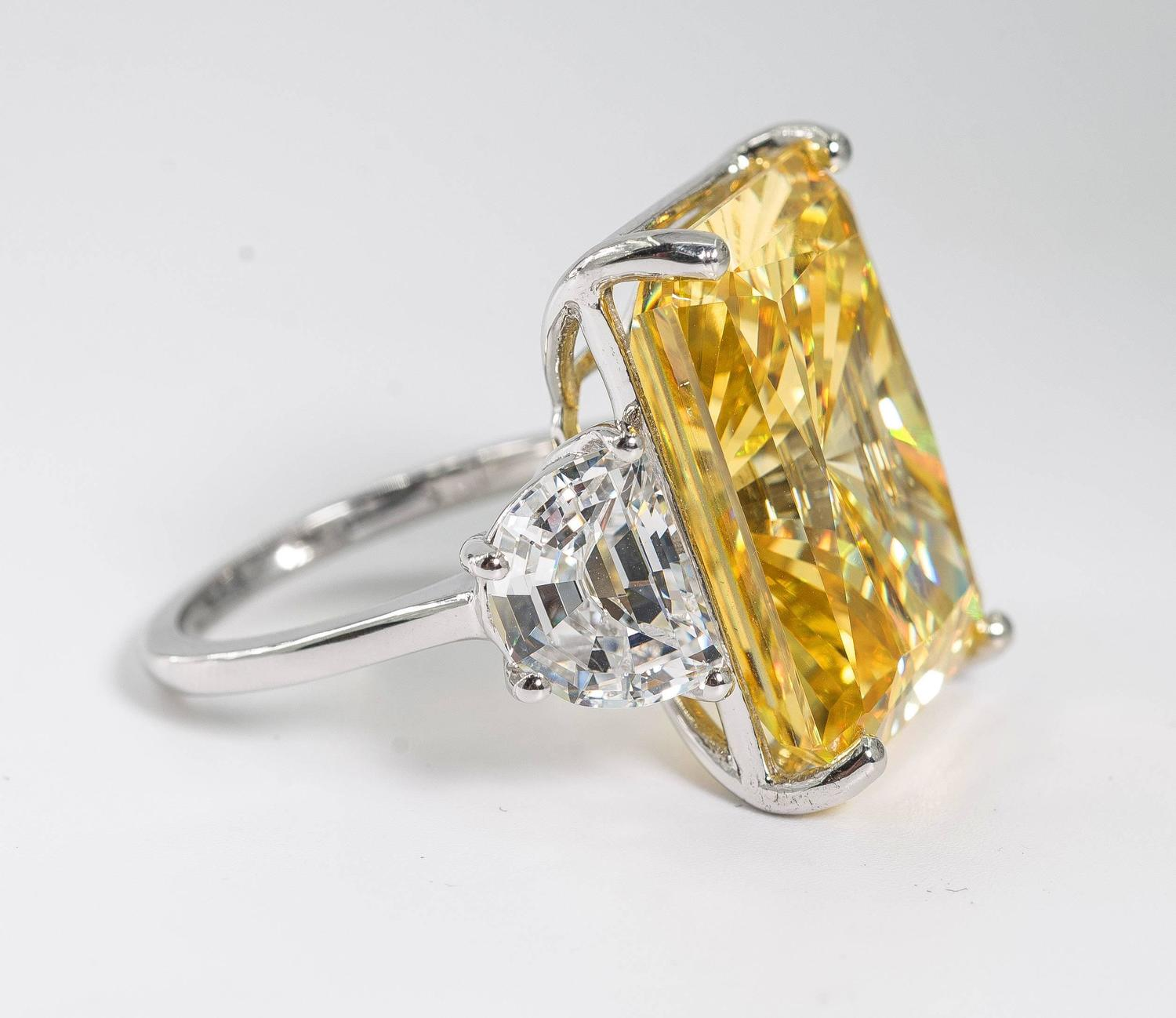 magnificent faux canary yellow 15 carat radiant cut