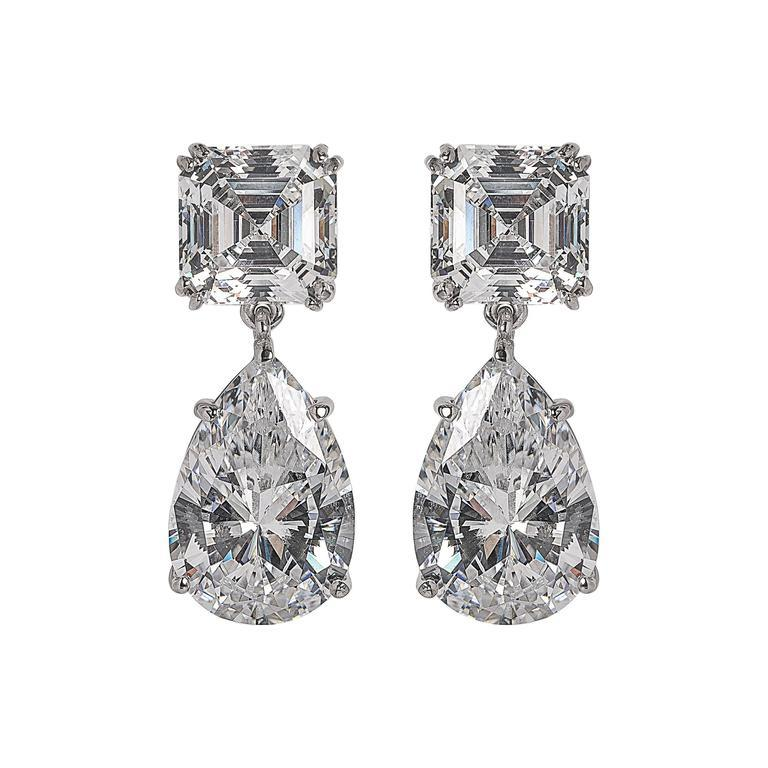 For Day And Night  Faux Diamond Cubic Zirconia Drop Earrings In New Condition In New York, NY