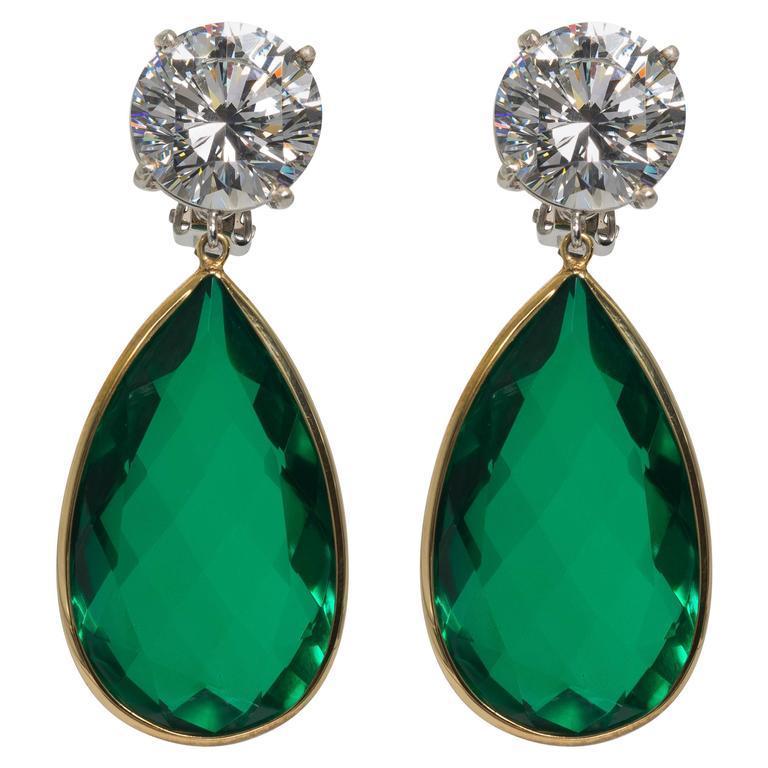 Maharajah Jewel Collection Amazing Faux Diamond Emerald Drop Earrings Set With D Color Six Carat