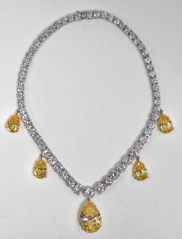 Five Drop Faux Canary Yellow Diamond Necklace 2
