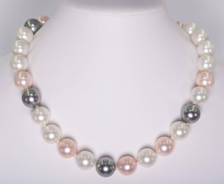 Faux 16mm South Sea White, Grey And Pink Pearl 21'' Necklace 2