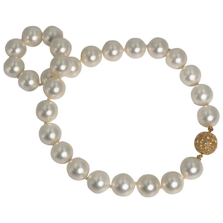 Modern For Day And Night Faux 16mm South Sea Pearl Necklace For Sale
