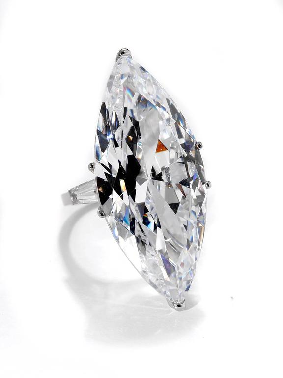 The Jackie O Faux Cz Lesotho 40 Carat Marquise D Color