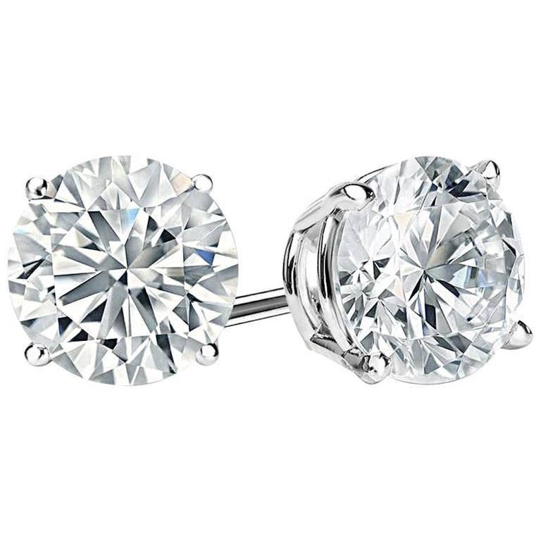 D Color 12 Carat Each Faux Diamond Cubic Zirconia Studs In New Condition For Sale In New York, NY