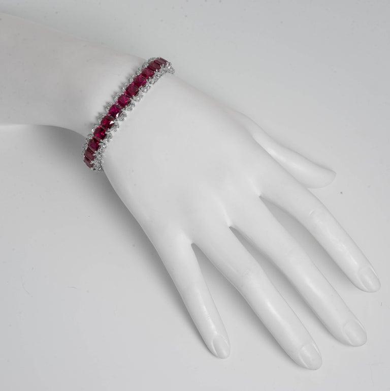 Women's or Men's Art Deco Style Diamond Ruby Line  Bracelet For Sale