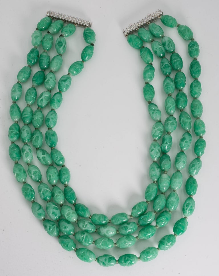 Art Deco Style Five Strand Carved Jade Bead  Costume Jewelry Necklace Sterling CZ set Clasp