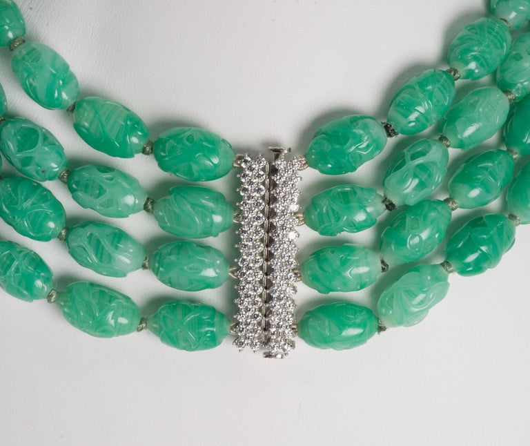 Women's Art Deco Style Five Strand Carved Jade Bead  Costume Jewelry Necklace For Sale