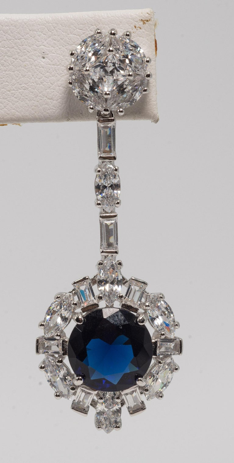 Art Deco Style diamond sapphire costume jewelry earrings finest cubic zirconia set in sterling.  Exquisite quality round, baguettes and marquises. One inch long post only.