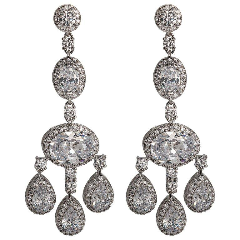 Faux diamond shimmering girandole chandelier earrings made of the finest hand set man-made gems. Totally real looking glamorous faux jewelry, light as a feather, flexible and post fitting measures 3'' long by 1'' wide.
