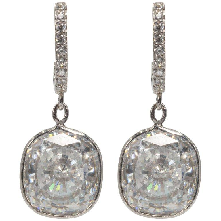 Edwardian Style Cushion Diamond Costume Jewelry Earrings In New Condition For York