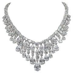 Stunning Red Carpet Faux Diamond Draperie Fringe Necklace