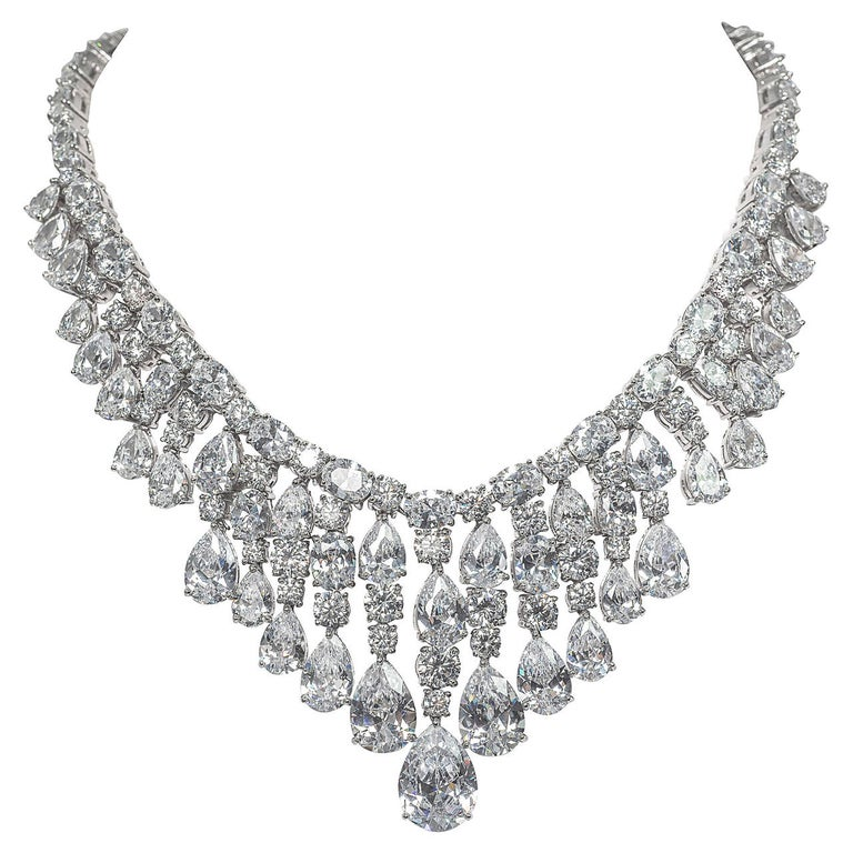 Synthetic Diamond Draperie Fringe Sterling Necklace For Sale