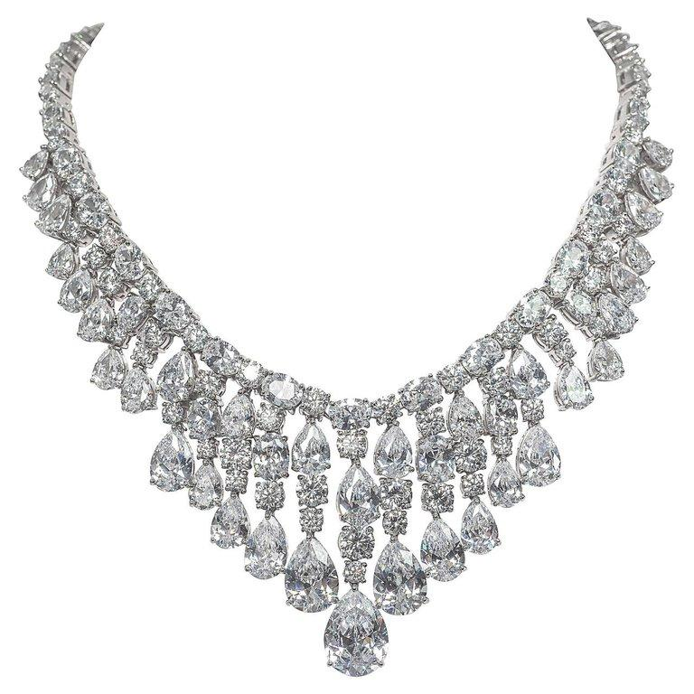 Modern Synthetic Diamond Draperie Fringe Sterling Necklace For Sale