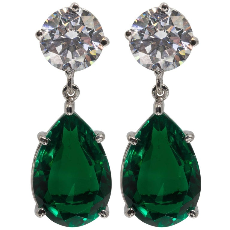Magnificent Costume Jewelry Diamond Emerald Drop Earrings For
