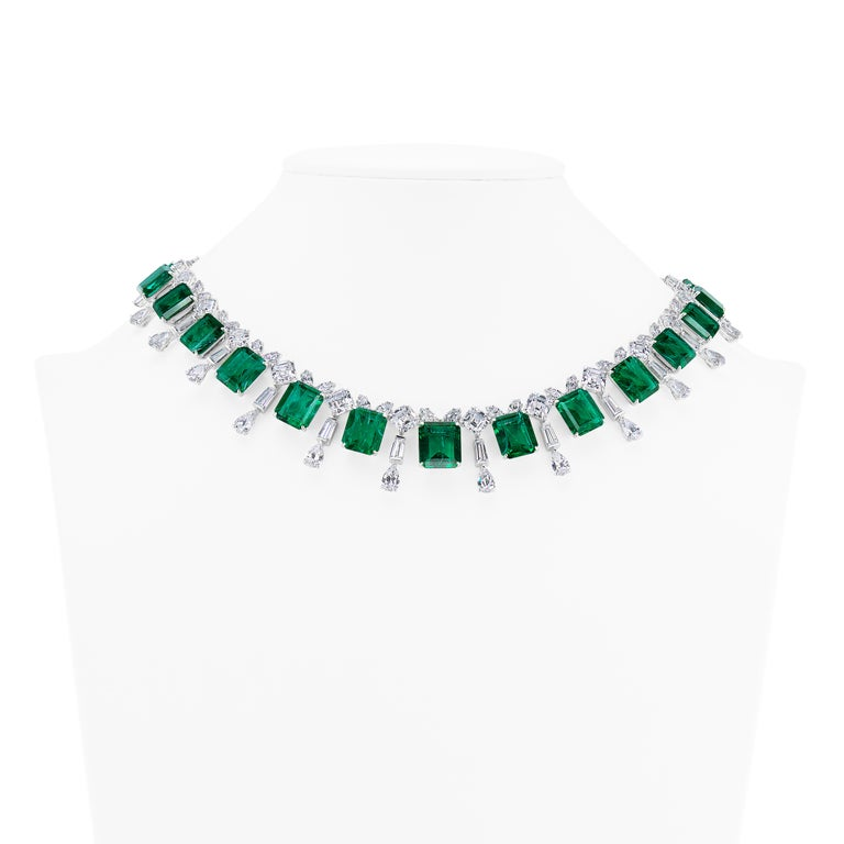 Art Deco Real Looking Faux Emerald Cubic Zirconia Sterling 1950s Style Necklace For Sale