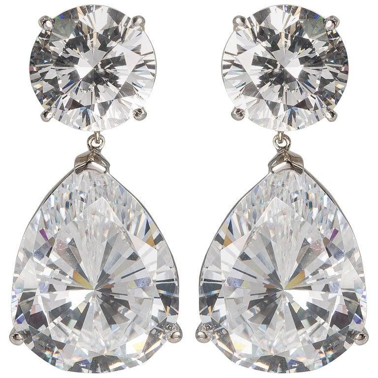 Large Cubic Zirconia Faux Diamond Earrings For
