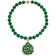 Faux Imperial Jade Diamond Sterling Pendant Necklace