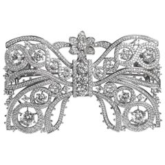 Marie Antoinette Collection Garland Style Large Faux Diamond Bow Pin