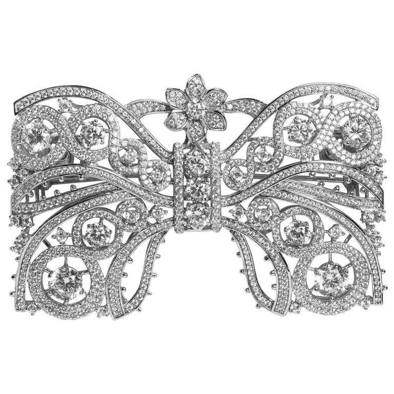 18th Century Style Cubic Zirconia Large Sterling Bow Pin For Sale