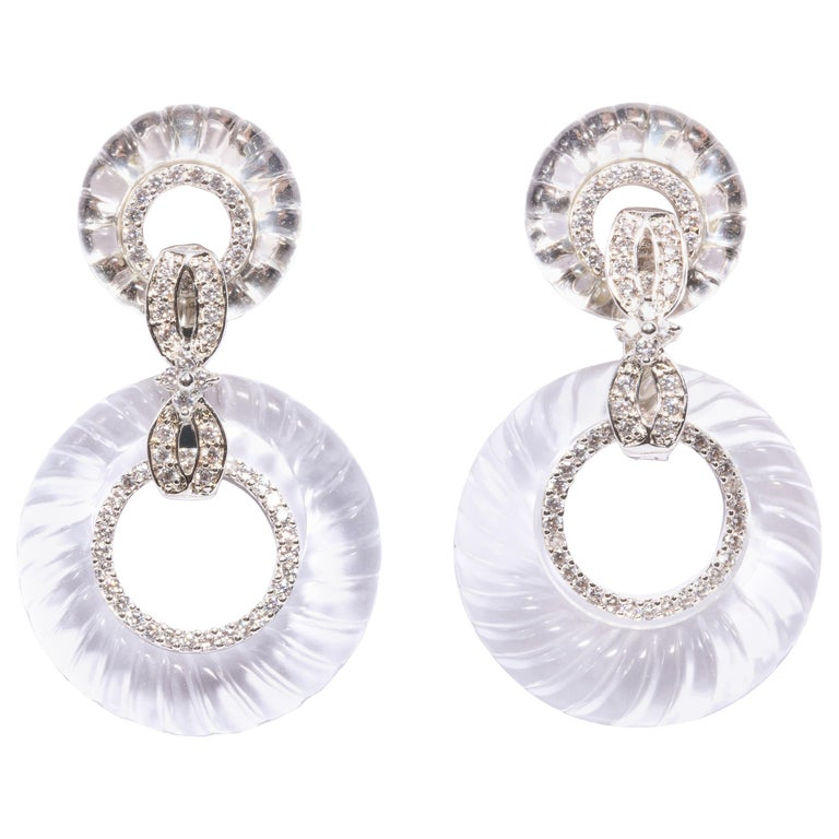Magnificent Costume Jewelry Art Deco Style Diamond Rock Crystal Hoop Earrings For