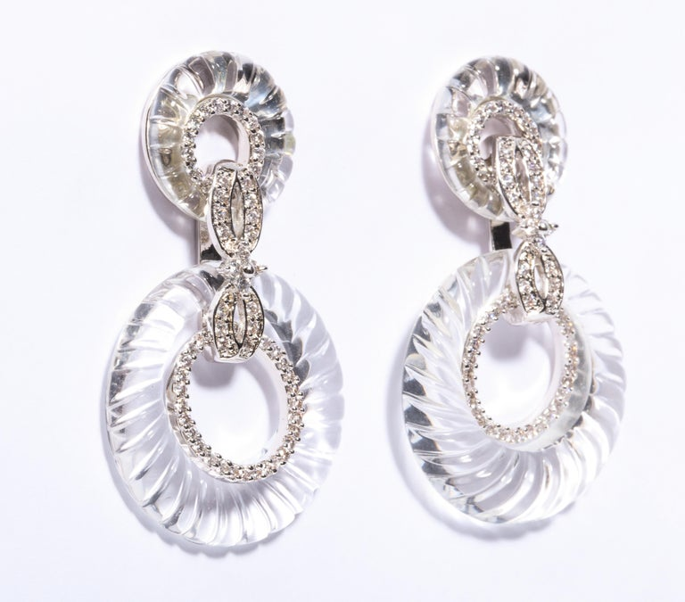 Magnificent Costume Jewelry Art Deco Style Faux Diamond Rock Crystal Resin Hoop Earrings Post Only 2