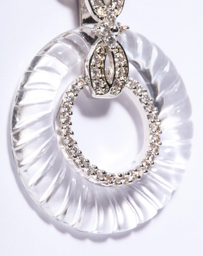 Magnificent Costume Jewelry Art Deco Style Diamond Rock Crystal Hoop Earrings In New Condition For