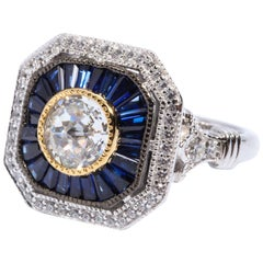 Pretty Art Deco Style Cubic Zirconia Sapphire Sterling Ring