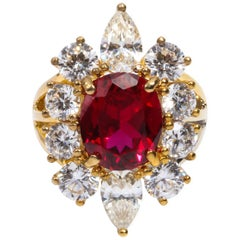 Synthetic Burma Ruby Diamond Halo Cluster Vermeil Ring