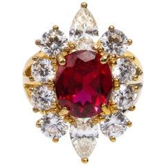 Faux Burma Ruby Cubic Zirconia Halo Cluster Vermeil Ring