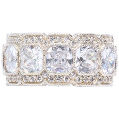 Stunning White Micropave Cubic Zirconia Half Inch Wide Band