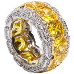 Synthetic Yellow Diamond Half Inch Wide Band