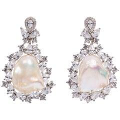 Big Freshwater Pearl Cubic Zirconia  Sterling Earrings