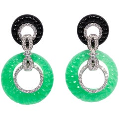 Art Deco Style Faux Diamond Onyx Jade Earrings