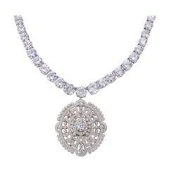 Edwardian Style Faux Diamond Pendant Necklace
