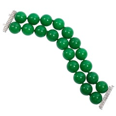 Faux Imperial 20MM Green Jade Large Bead Diamond Bracelet
