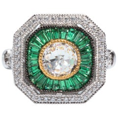 Art Deco Style Pretty Synthetic Diamond Emerald  Sterling Ring