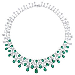 Faux Emerald Cubic Zirconia La Grande Soiree Lace Sterling Necklace