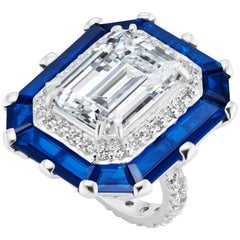 Art Deco Style Halo Synthetic Diamond Sapphire Sterling Ring