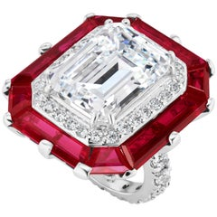 Art Deco Style Halo Synthetic Diamond Ruby Sterling Ring